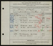 Entry card for Clough, Thomas for the 1928 May Show.
