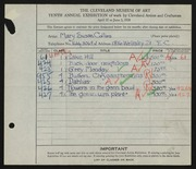 Entry card for Collins, Mary Susan for the 1928 May Show.