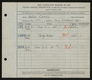 Entry card for Curry, Noble for the 1928 May Show.