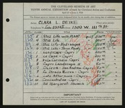Entry card for Deike, Clara L. for the 1928 May Show.