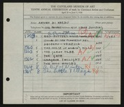 Entry card for Di Nardo, Antonio for the 1928 May Show.
