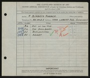 Entry card for Farmer, Franklin Birbeck for the 1928 May Show.
