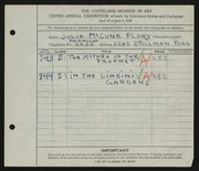 Entry card for Flory, Julia McCune for the 1928 May Show.