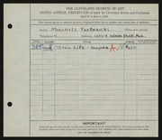 Entry card for Fredericks, Marshall Maynard for the 1928 May Show.