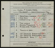 Entry card for Gaertner, Carl Frederick for the 1928 May Show.