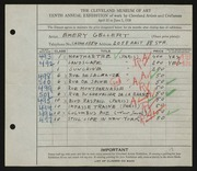 Entry card for Gellert, Emery for the 1928 May Show.