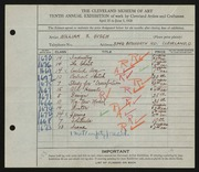 Entry card for Gisch, William S. for the 1928 May Show.