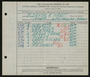 Entry card for Hart, Eleanor Hotz for the 1928 May Show.