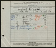 Entry card for Heglund, Arthur William for the 1928 May Show.