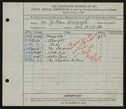 Entry card for Herczegh, Zoltan for the 1928 May Show.
