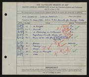 Entry card for Herrick, Josephine Ursula for the 1928 May Show.