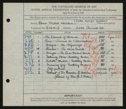 Entry card for Holden, Cora for the 1928 May Show.
