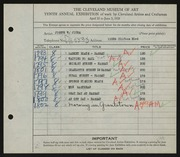 Entry card for Jicha, Joseph W. for the 1928 May Show.
