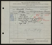 Entry card for Jordan, Charlotte H. for the 1928 May Show.