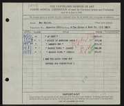 Entry card for Kalish, Max for the 1928 May Show.