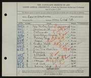 Entry card for Kaufman, Edwin for the 1928 May Show.