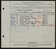 Entry card for Kirkland, Vance for the 1928 May Show.
