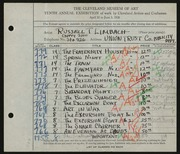Entry card for Limbach, Russell T. for the 1928 May Show.