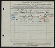 Entry card for Long, Elizabeth French for the 1928 May Show.