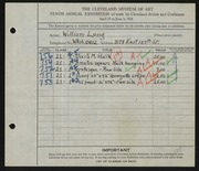 Entry card for Long, William for the 1928 May Show.