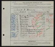 Entry card for Maloney, Louise Burdette for the 1928 May Show.