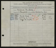 Entry card for McBride, Mildred for the 1928 May Show.