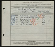 Entry card for Meyer, Paul A. for the 1928 May Show.