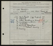Entry card for Newell, Clifton for the 1928 May Show.