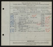 Entry card for Peck, Augustus for the 1928 May Show.