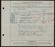 Entry card for Peets, Orville Houghton for the 1928 May Show.