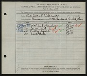Entry card for Cass, Caroline Pickands for the 1928 May Show.