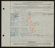 Entry card for Raymond, Mary E. for the 1928 May Show.