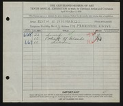 Entry card for Richards, Edith B. for the 1928 May Show.