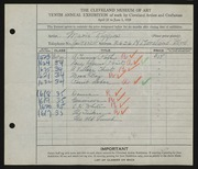 Entry card for Riggins, Marie for the 1928 May Show.