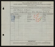 Entry card for Risser, Minnie J. for the 1928 May Show.