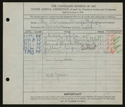 Entry card for Rorimer-Brooks Studios, and Green, William B. for the 1928 May Show.