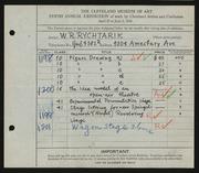 Entry card for Rychtarik, Richard for the 1928 May Show.