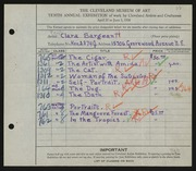 Entry card for McClean, Clara for the 1928 May Show.
