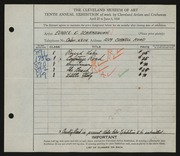 Entry card for Schraishuhn, Eunice E. for the 1928 May Show.