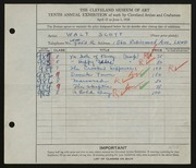 Entry card for Scott, Walter E. for the 1928 May Show.