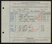 Entry card for Seaver, Hugh for the 1928 May Show.