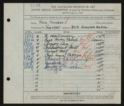 Entry card for Shively, Paul for the 1928 May Show.