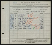 Entry card for Silberger, Manuel G. for the 1928 May Show.