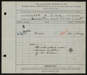 Entry card for Sinz, Walter A. for the 1928 May Show.
