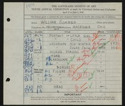 Entry card for Sommer, William for the 1928 May Show.