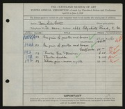 Entry card for Tarr, Lida Foote for the 1928 May Show.