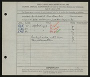 Entry card for Throckmorton, Mrs. Archibald H. for the 1928 May Show.