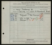 Entry card for Trenkamp, Henry Jr. for the 1928 May Show.