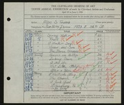 Entry card for Tuura, Alpo S. for the 1928 May Show.