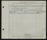 Entry card for Baird, Elnora Weaver for the 1928 May Show.